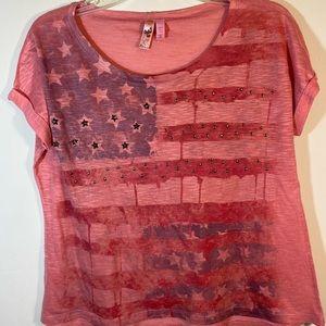 Dolled Up Pink American Flag Shirt Medium